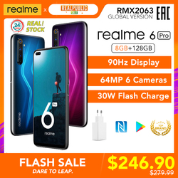 realme 6 Pro 8GB RAM 128GB ROM 6pro Global Version Mobile Phone Snapdragon 720G 30W Fast Charge 64MP Camera Original EU Plug NFC