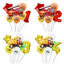 7 pçs da folha de carro balões construção carro caminhão de bombeiros balão 1 2 3 4 5st decorações festa aniversário crianças número estrela globos