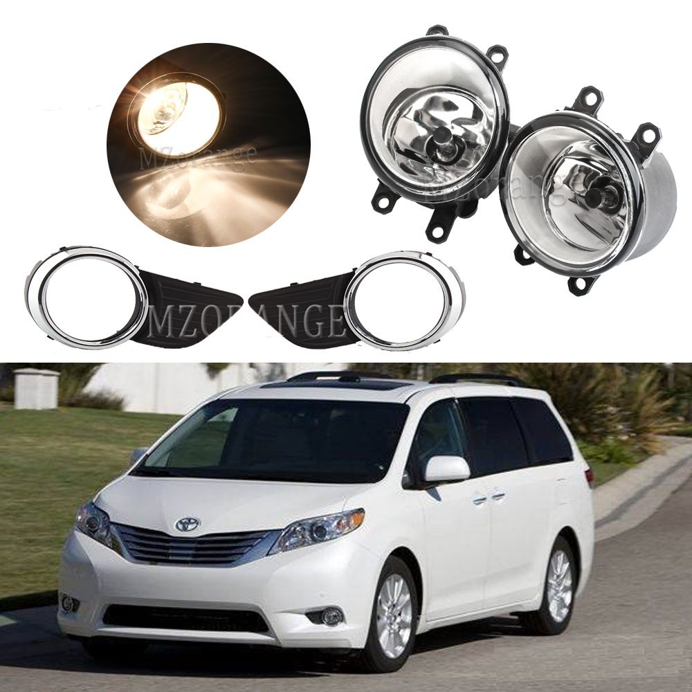 For Toyota Sienna 2011-2017 Fog Lights Headlight Fog Light Fog Lamp Headlights Clear Glass Bumper Grill Lamp Wire Harness Switch