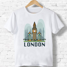 London Landmark Tshirt Summer New T-Shirt Boys/Girls White Harajuku Personality Casual O-Neck 3-9 Years(China)