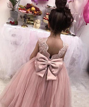 vestido infantil festa Sleeveless Lace Appliques Tulle Girl Pageant Gowns Birthday With Big Bow Pink Flower Girls Dresses