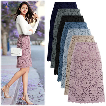 MAZEROUT Women Office Lace Chic Skirt Summer Elegant A-line Pencil Skirts Ladies High Waist Elegant Long Skirts Plus Size S-8XL siloqin elegant women s 100