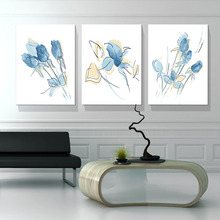 Watercolor Leaves Wall Art Canvas Painting Blue Style Plant Nordic Posters and Prints Decorative Picture Modern Home Decoration black white palm tree leaves canvas posters and prints minimalist painting wall art decorative picture nordic style home decor