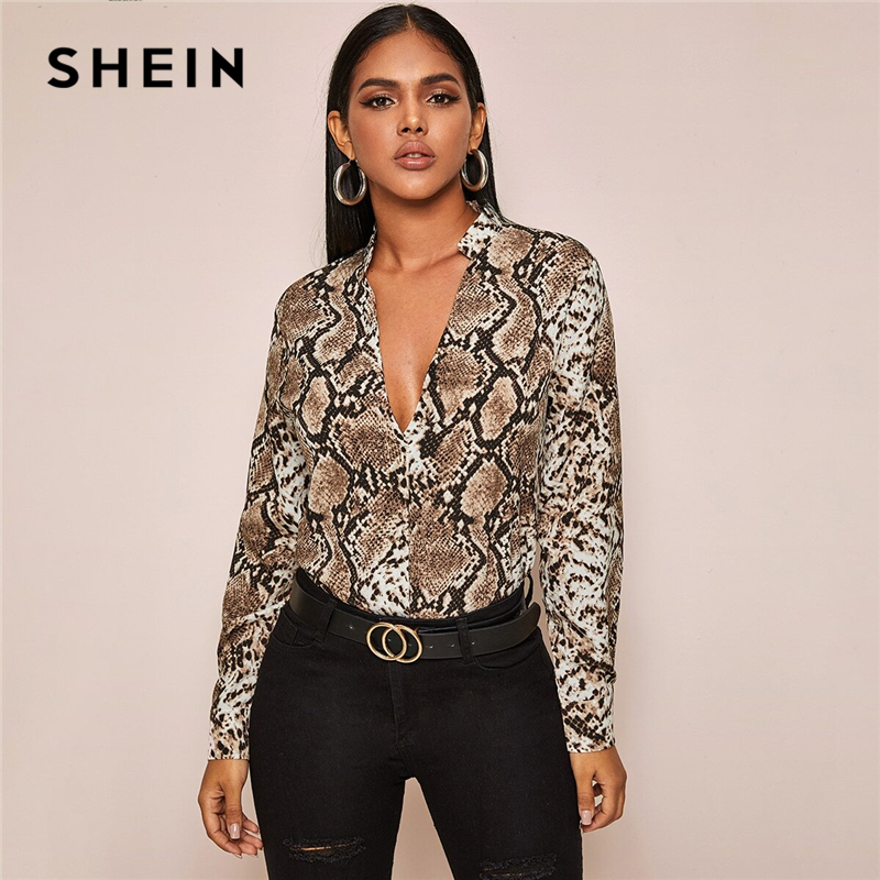 SHEIN Multicolor Notch Collar Snakeskin Print Low Neckline Blouse Women Spring Long Sleeve Elegant Tops And Blouses