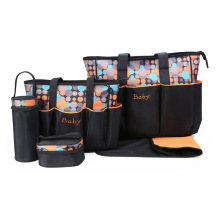 New Fashion Printing Wave Point Mummy Bag Five-Piece Waterproof Multi-Function Large Capacity Shoulder High Quality