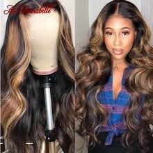 Mel loira destaque perucas ombre marrom onda do corpo perucas de cabelo humano ali annabelle 4x4 fechamento do laço perucas de cabelo humano para mulher