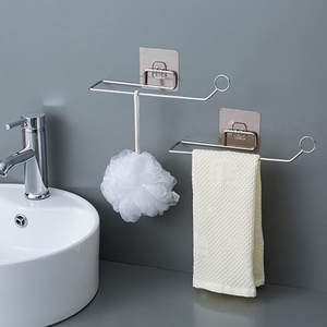Towel-Hanger Sticky-Hook-Organizer Bathroom-Door Stainless-Steel Wall-Storage Multi-Linked