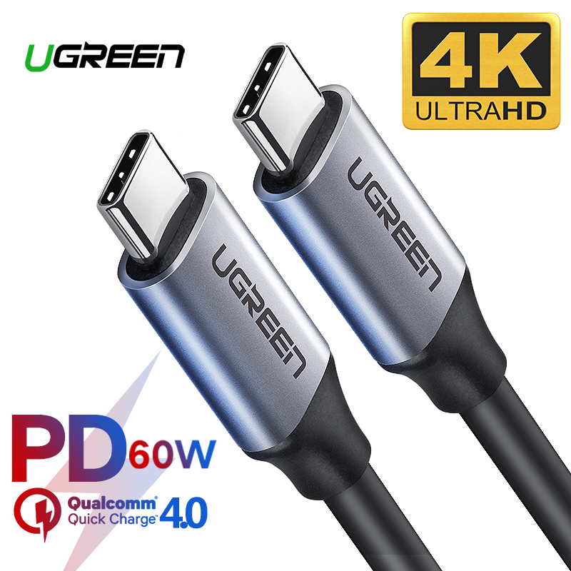 Ugreen USB 3.1 Type C To USB C Cable For Samsung S9 S8 Note 9 8 PD 60W Quick Charge 4.0 USB-C Fast Charger Cable For MacBook Pro
