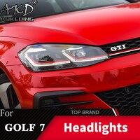 Head Lamp For VW Golf 7 MK7 Headlights Golf 7.5 R LINE Design Fog Lights Day running light H7 LED Bi Xenon Bulb Car Accessories