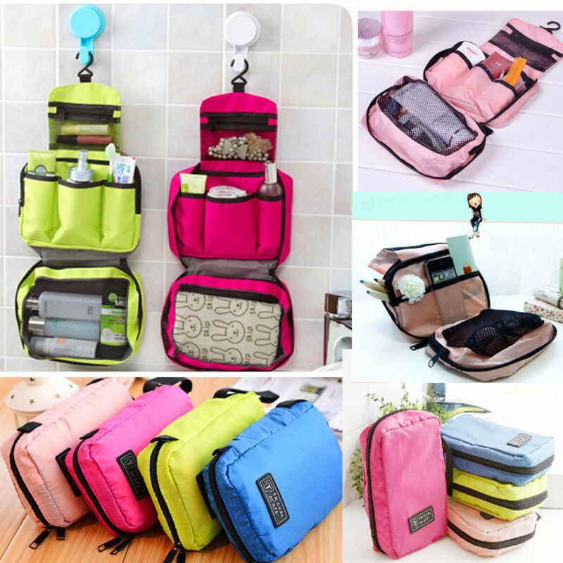 Fashion  Women Travel Camping Toiletry Storage Bag Solid Color Hanging Wash Bags Ladies Portable Waterproof Makeup Storage Bags