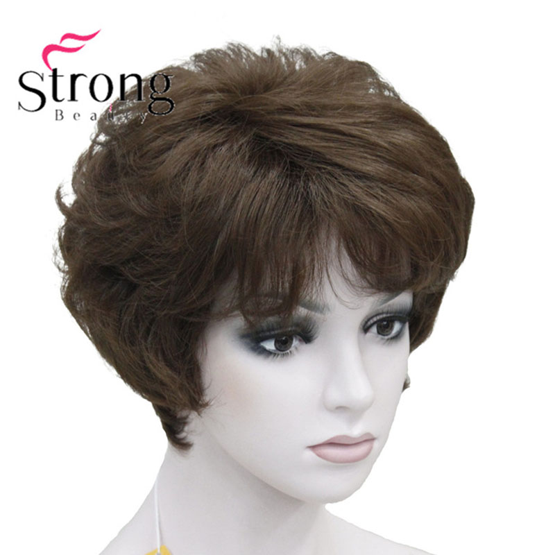 StrongBeauty Women's Wigs Fluffy Naturally Curly Short Synthetic Hair Full Wig 11 Color