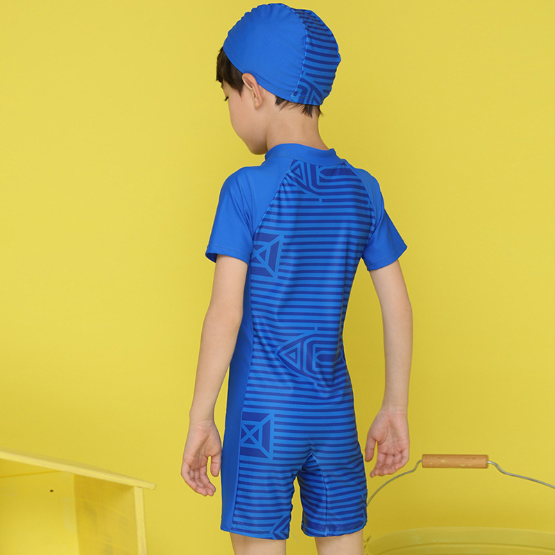 Korean-style One-piece Swimsuit For Children Boy Children Teenager Baby BOY'S Shorts Set Students Short Sleeve Sun-resistant Bat