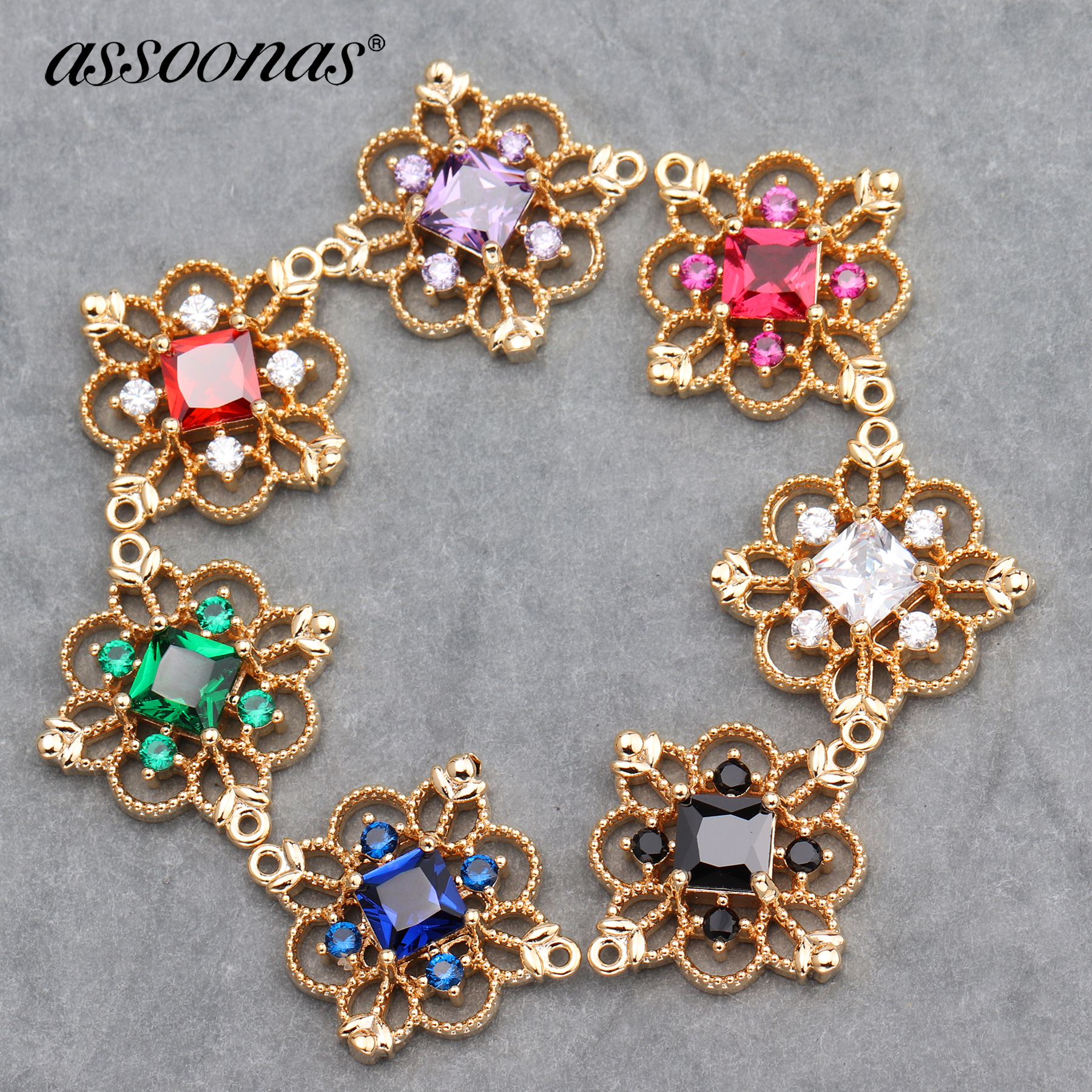 Assoonas M588,18K Gold Pendant,jewelry Accessories,Zircon Crystal,hand Made,jewelry Making,jewelry Finding,diy Earrings,6pcs/lot