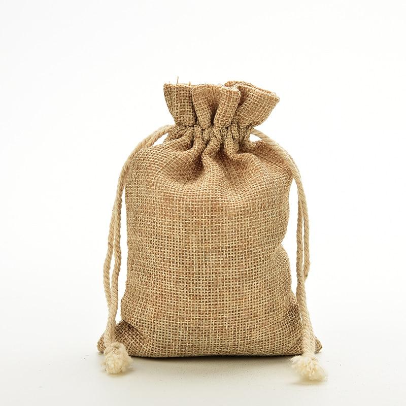 1pcs Mini Rustic Burlap Pouch Sack Drawstring Tie Bag Wedding Party Favor 10 X 14.5 Cm