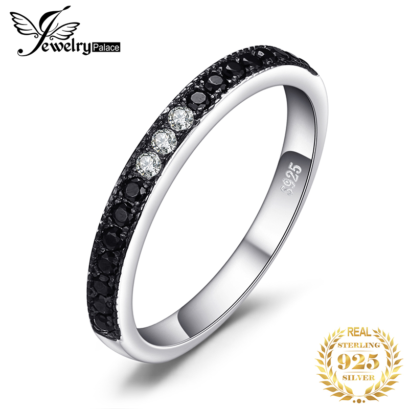 JewelryPalace Genuine Black Spinel Ring 925 Sterling Silver Rings For Women Wedding Rings Eternity Band Silver 925 Fine Jewelry