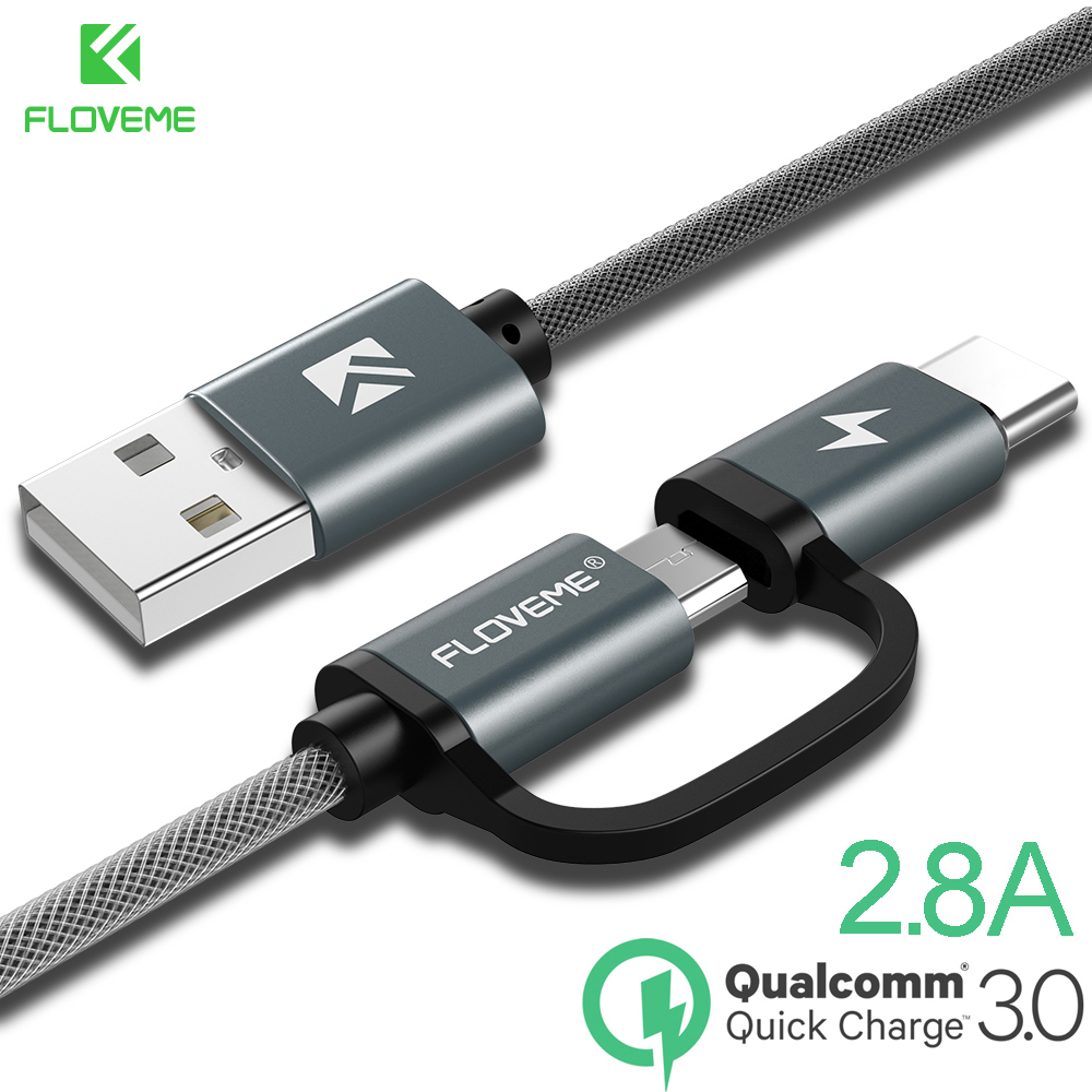 FLOVEME 2 in 1 Fast Charging Type C Micro USB Cable Quick Charge QC 3.0 for Xiaomi Mi9 Huawei Samsung Mobile Phone Cable Type C