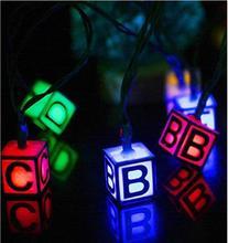 Solar Light String 20 LED Line English Letter Outdoor Waterproof Christmas Decoration Lantern Lights