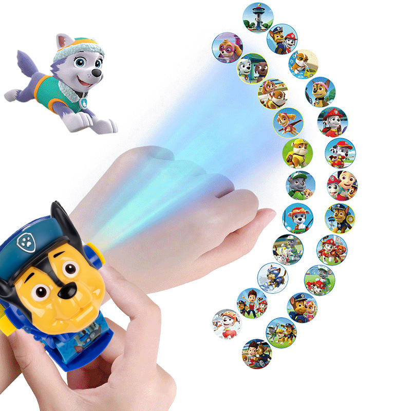 Paw Patrol Toy Digital Watch Projection Action Patrulla Canina Toy 24 Style Pattern Time Clock Children Birthday Christmas Gift