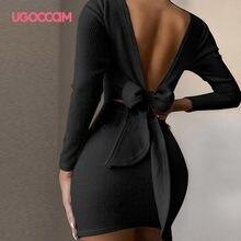 UGOCCAM Women Dress Sexy Bow Backless O-Neck Tight Long Sleeve Halter Spaghetti Clubwear Bodycon Party Mini Dress Vestido Verano