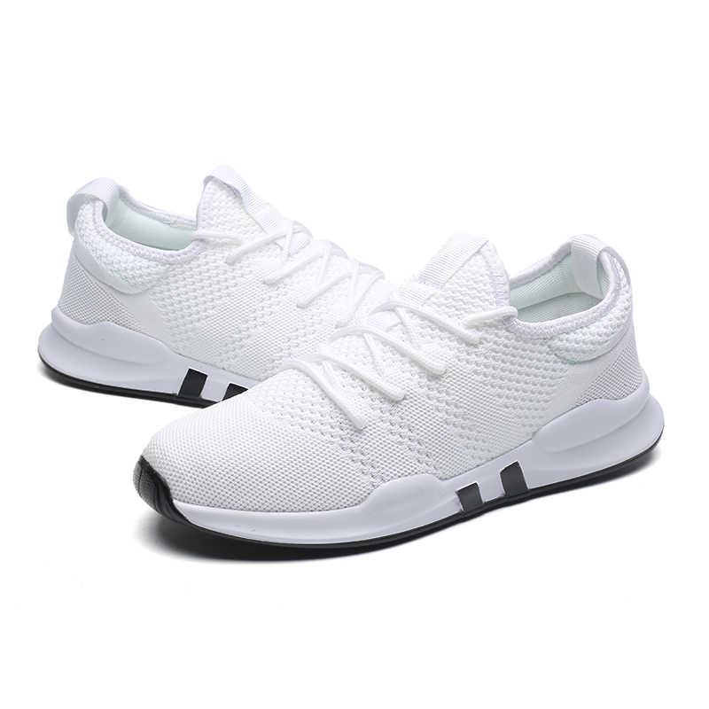 2019 летние мужские туфли из дышащего сетчатого материала; мужские туфли для работы; Повседневные Легкие удобные мужские кроссовки без шнуровки; большие размеры; Новая мода