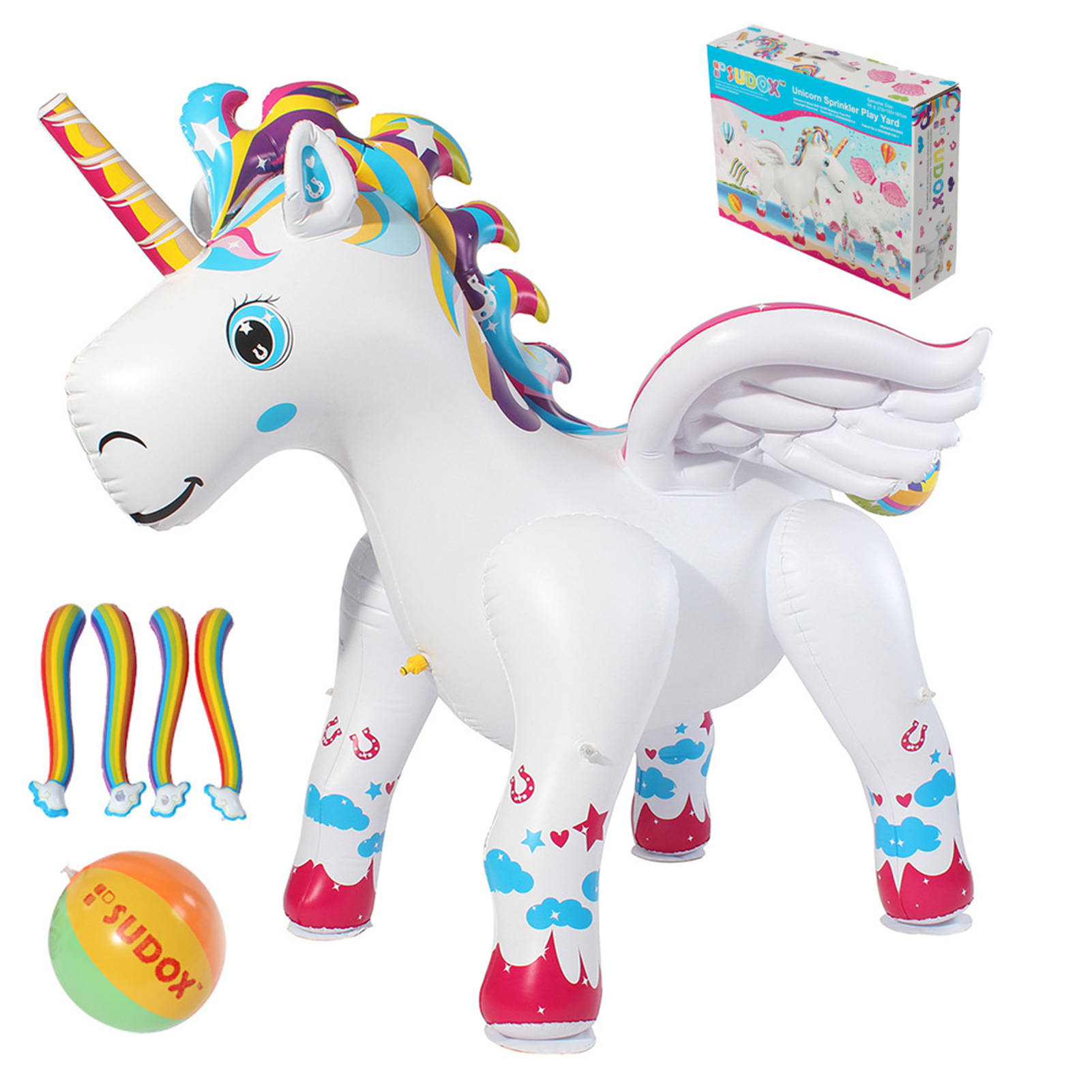Unicorn Sprinkler Durable Inflatable Water Spray Toy Summer PVC Sprinkle Water Park Durable Inflatable Outdoor Fairy Tale Toys
