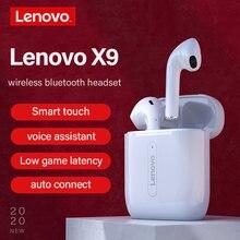Lenovo-Auriculares deportivos X9 de alta fidelidad, cascos con Bluetooth 5,0, sonido estéreo HD, micrófono con cancelación de ruido y Control táctil