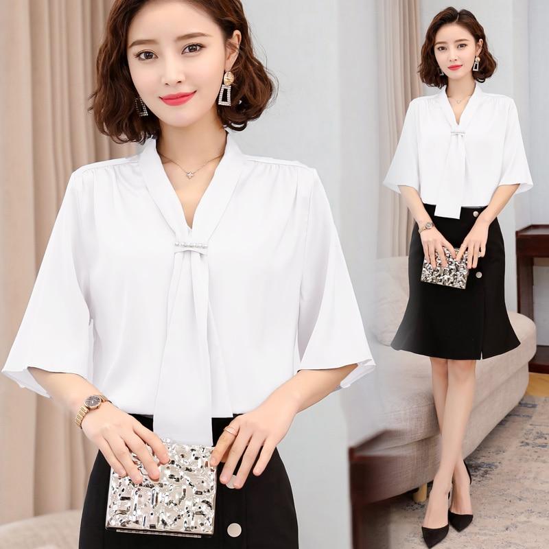 Korean Silk Women Blouses Women Satin Shirt Tops Plus Size Woman Solid V Neck Blouse Top Blusas Mujer De Moda 2020 Woman Bow Top