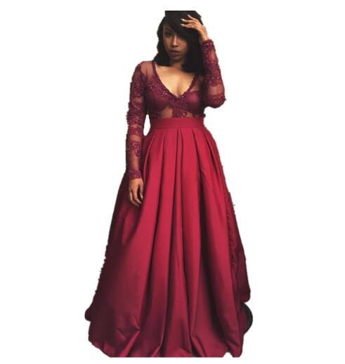 Bordeaux manches longues robes de bal Sexy élégant col en v profond a-ligne rouge robe de bal haut dentelle longueur de plancher robes de soirée africaines