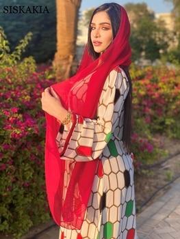 Siskakia Dubai Jalabiya Indie Folk Maxi Dress For Women Fashion Muslim Ribbon V Neck Moroccan