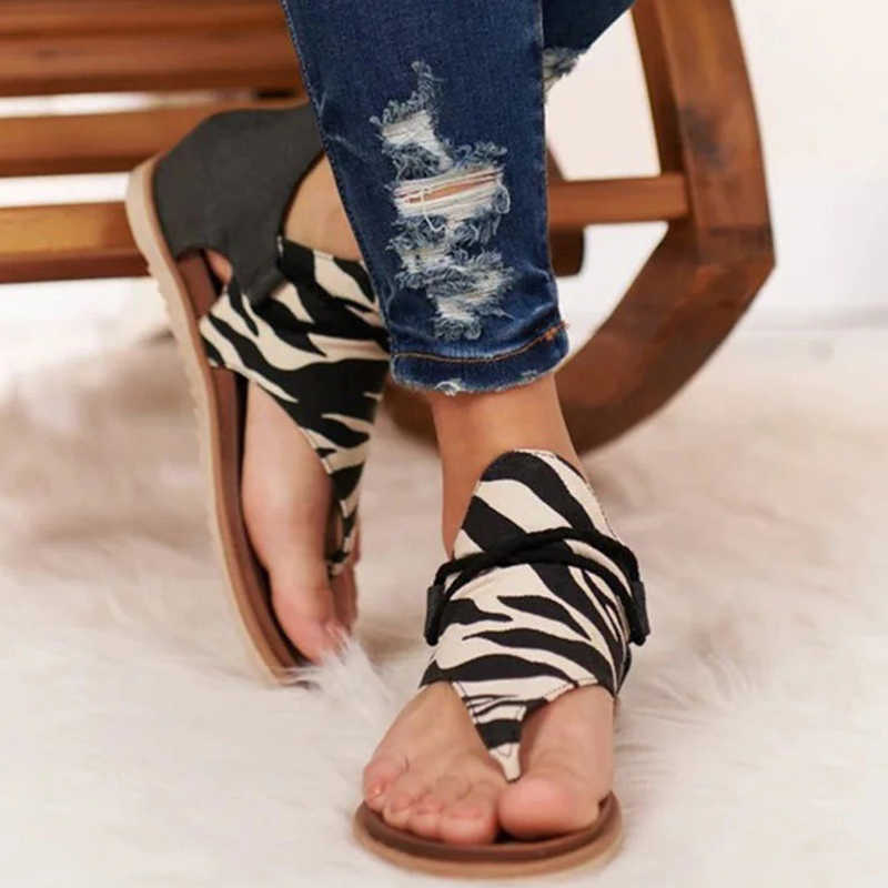 Женские сандалии; Сезон лето 2020 года; Леопардовые Вьетнамки; Удобные женские сандалии-гладиаторы на молнии; Женская пляжная обувь; Повседневная обувь размера плюс 35-43