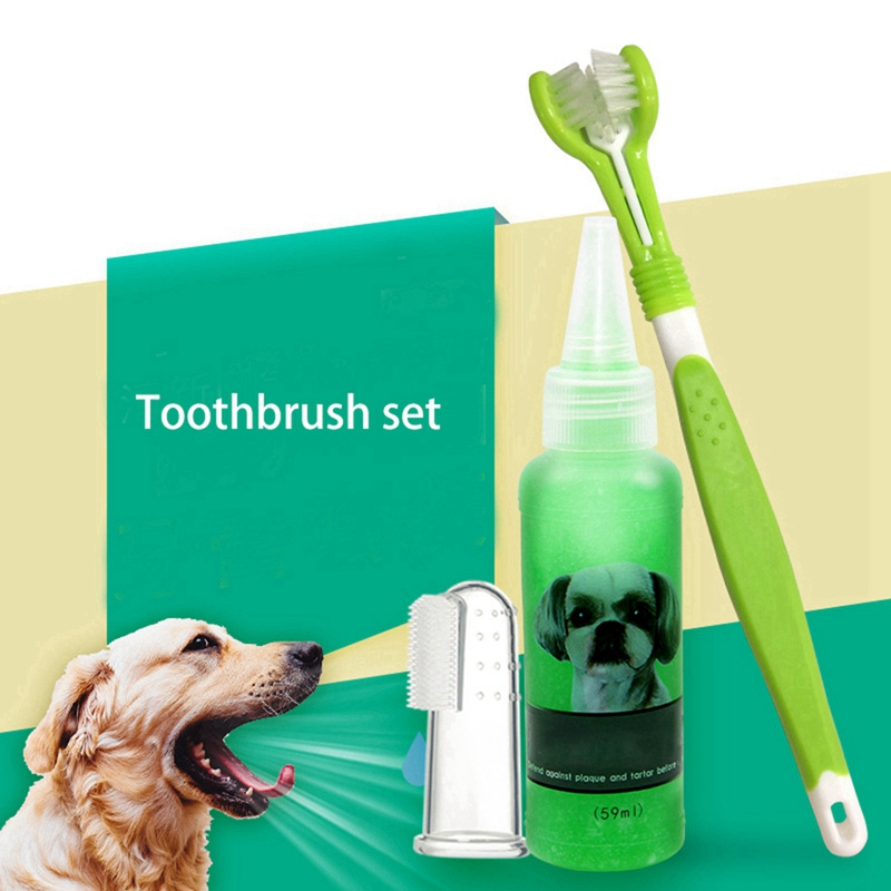 Pet Dog Teeth Cleaning Kit Three Sided Pet Toothbrush Gel Toothpaste Finger Toothbrush For Pet Puppy Cats Cleaning Supplies