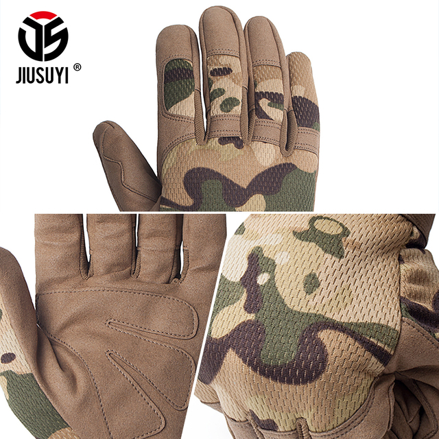 Multicam Tactical Gloves Antiskid Army Military Bicycle Airsoft Motocycel Shoot Paintball Work Gear Camo Full Finger Gloves Men 3