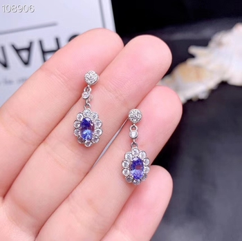 Fashion Lovely Sun flower S925 silver natural blue tanzanite gem drop earrings natural gemstone women girl party gift jewelry