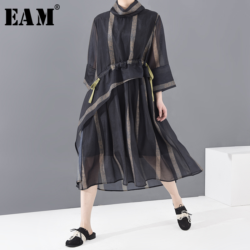 [EAM] Women Mesh Striped Drawstring Dress New Stand Collar Three-quarter Sleeve Loose Fit Fashion Spring Summer 2020 1T55401