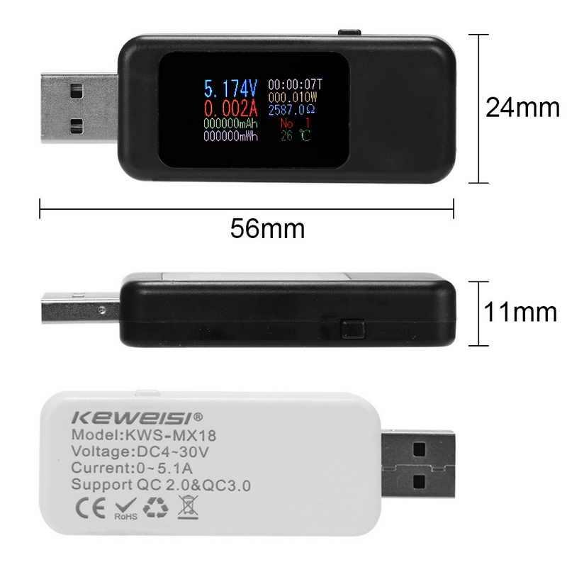 DC USB testeur courant 4-30V tension mètre ampèremètre moniteur numérique tension mètre capacité chargeur de puissance détecteur pour téléphone intelligent