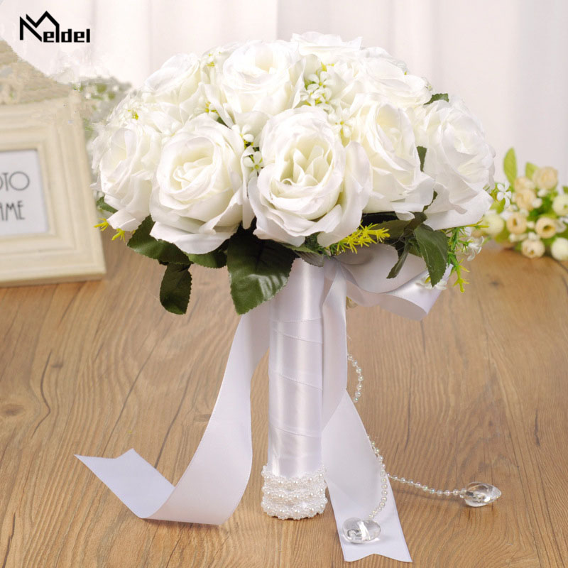 Meldel Artificial Rose White Wedding Bridal Bouquet Holder Ribbon Pearl Wedding Bouquet For Bridesmaid Fake Rose Bouquet Mariage