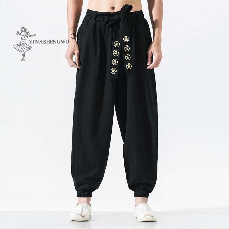 Japanese Casual Kimono Pants Loose HarajukuTrousers Japan Men Traditional Asian Clothing Yukata Style Embroidered Harem Costume