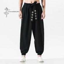 Japon rahat Kimono pantolon gevşek HarajukuTrousers japonya erkek geleneksel asya giyim Yukata tarzı işlemeli Harem kostüm