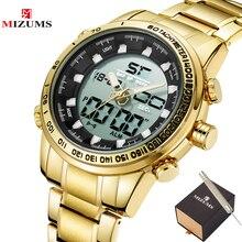 2020 cyfrowy zegarek mężczyźni luksusowej marki MIZUMS mężczyźni Sport zegarki wodoodporny stalowo złoty zegarek kwarcowy męska wojskowy Relogio Masculino