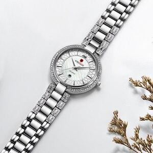 Image 4 - חדש הגעה למעלה יוקרה מותג KADEMAN נשים של קוורץ שעון תאריך אופנה גבירותיי שעוני יד קריסטל יהלומים עמיד למים Montre Femme