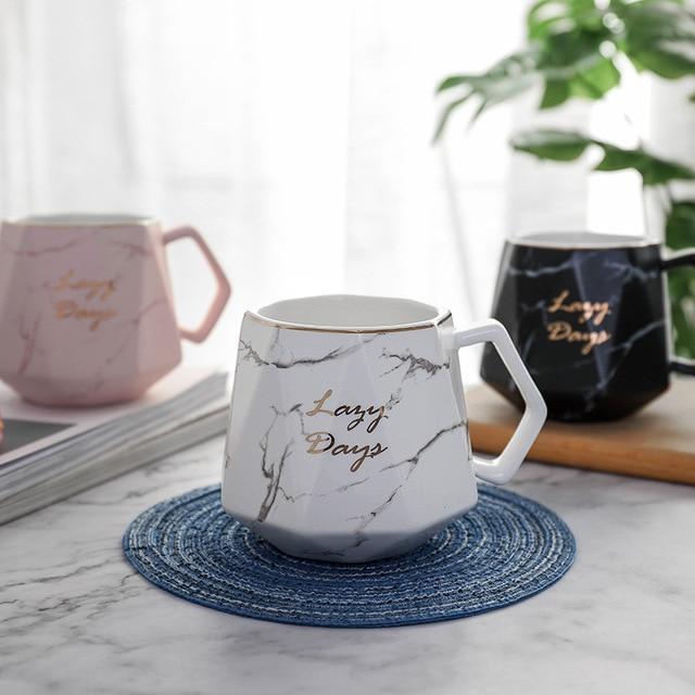 Nordic Marble Polygon Geometric Coffee Mug Porcelain Juice Drinking Cup Coffee Milk Tea Cup Gift for Girl Pink White 400ml 1