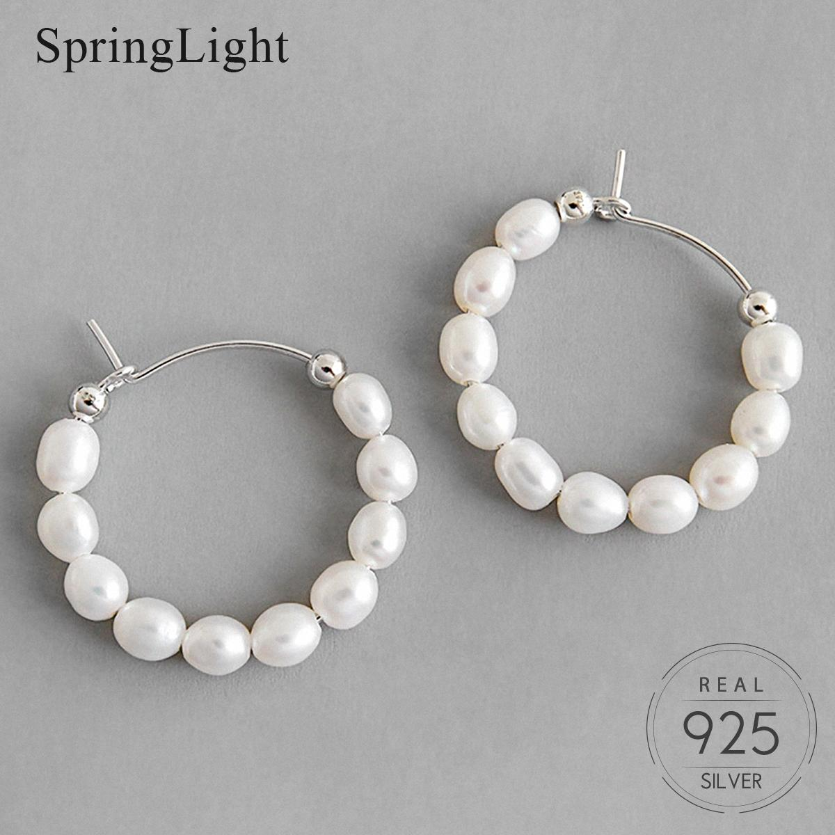 Springlight Temperament Pearl Round Earrings 925 Sterling Silver Ins Korean Style Elegant Hoop Earrings for Women Fine Jewelry