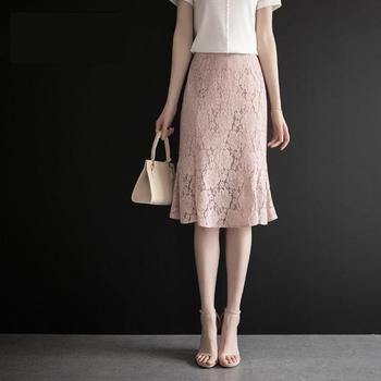 Spring Summer 2020 Mermaid Fishtail Skirt Lace Skirt For Women Female Knee Length High Waist Slim Skirt Office Lady Skirts retro style women s lace splicing fishtail skirt