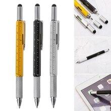 цена 6 in 1 metal pen Multifunction Tool Ballpoint Pen Screwdriver Ruler Spirit Level онлайн в 2017 году