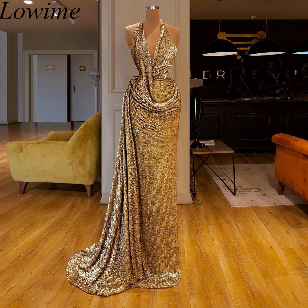High Fashion Gold Arabic Cocktail Dresses 2019 Long Mermaid Halter Kaftan Couture Evening Dress Glitter Prom Party Gowns Vestido