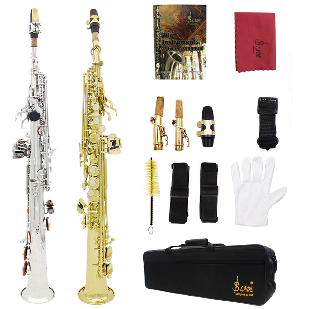 LADE Brass Straight Soprano Sax Saxophone Bb B Flat Woodwind Instrument Natural Shell Key Carve Pattern with Case Mouthpiece