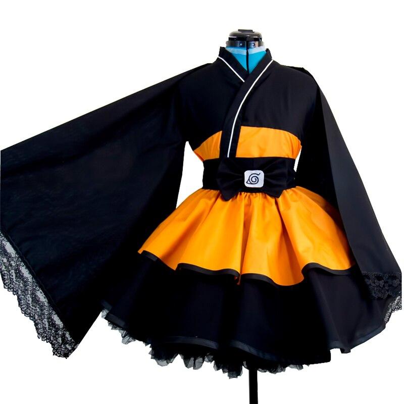 Anime Naruto Cosplay Costume Uzumaki Naruto Lolita Dresses Kimono Women Dress  Cosplay Halloween Party Uniforms