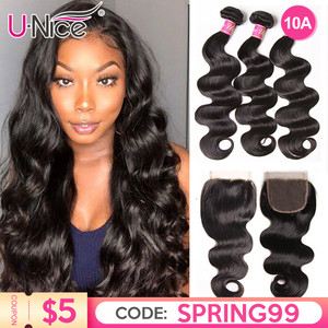 """UNICE Hair Body Wave Bundles With Closure Human Hair Bundles With Closure 8-30"""" Brazilian Hair Weave Bundles DIY Wig By You(China)"""