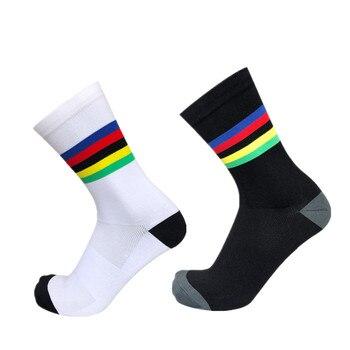 Novo campeão arco-íris ciclismo meias masculino esporte ao ar livre profissional competição bicicleta meias calcetines hombre 1