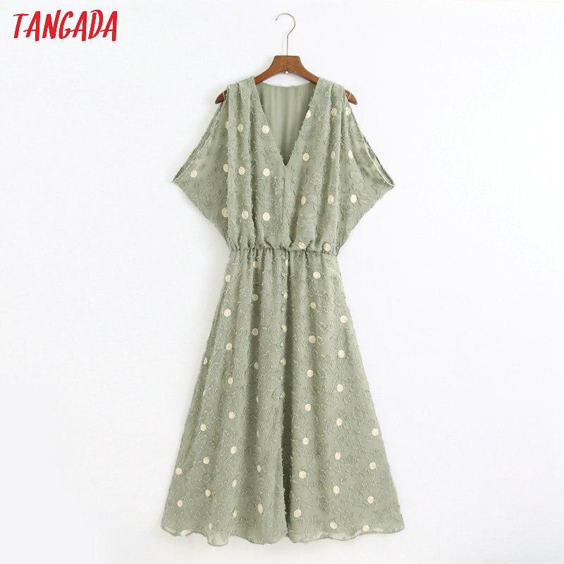 Tangada Fashion Women Dots Emebroidery Dress Off Shoulder Short Sleeve Ladies Summer Midi Dress Vestidos 6Z48